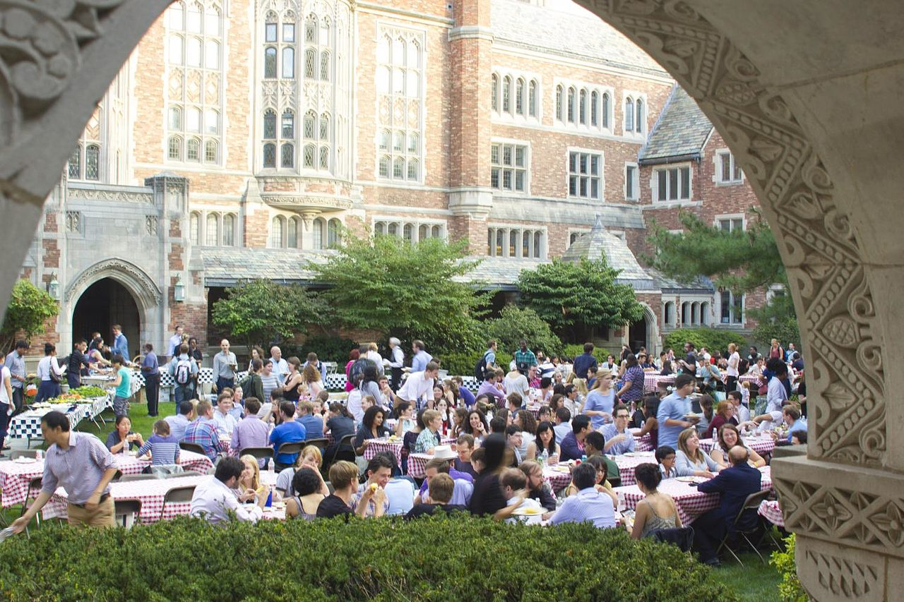 Community picnic outside in the courtyard