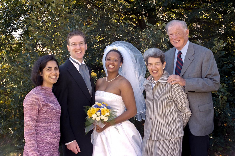 Bob and Helen Bernstein with Ahadi Bugg-Levine '98 on her wedding day