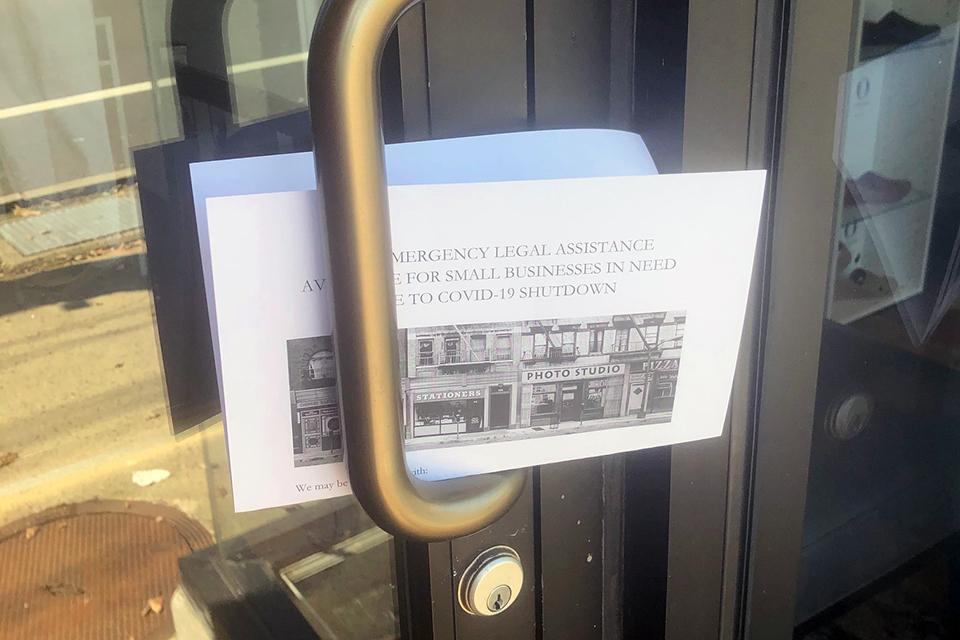 flyer in doorway
