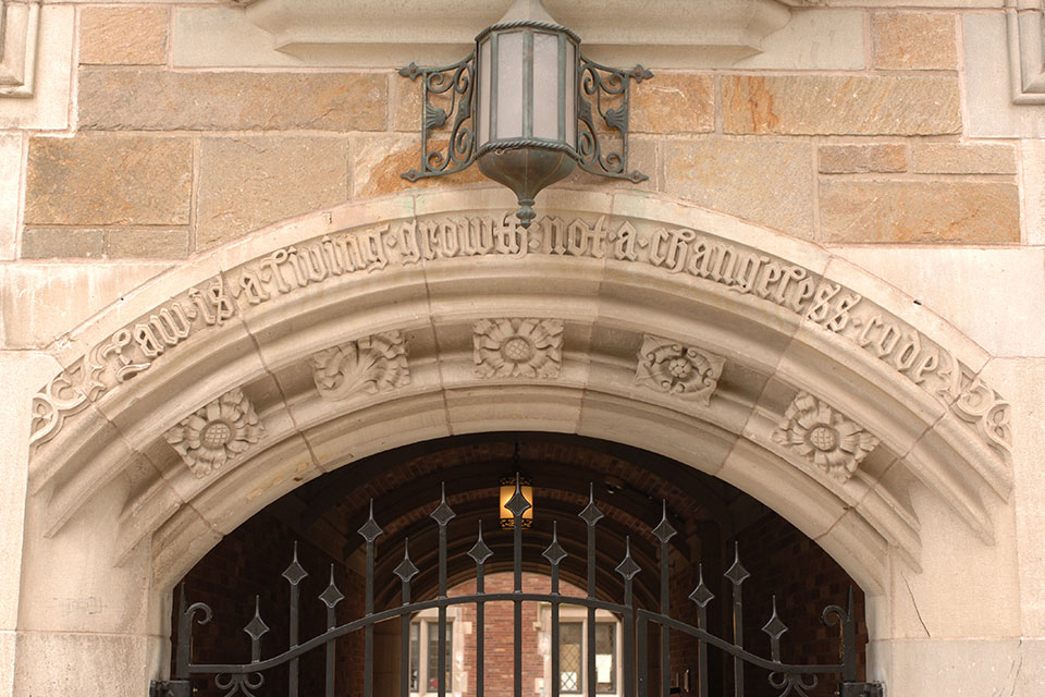 Architectural detail of Yale Law School