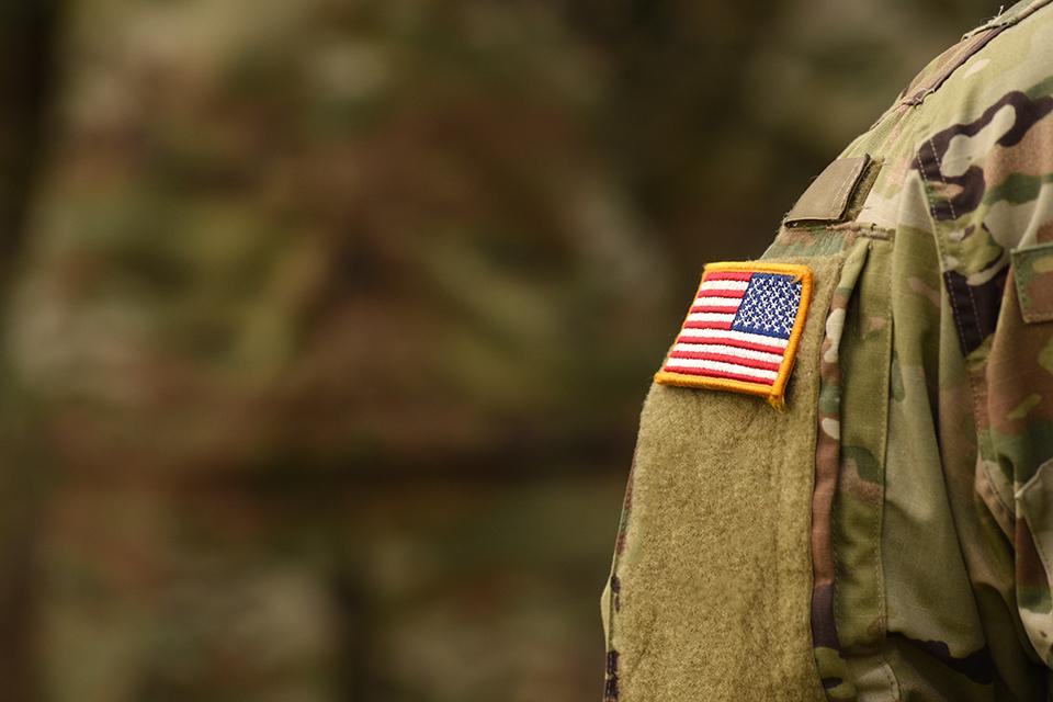 detail of a U.S. flag on an army uniform