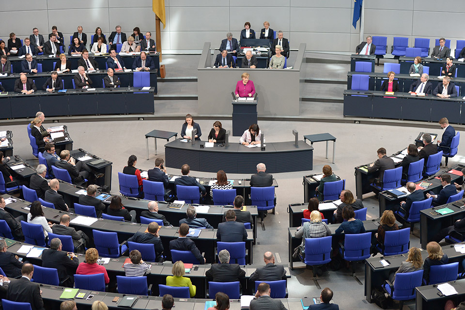A session of Bundestag, the German federal parliament