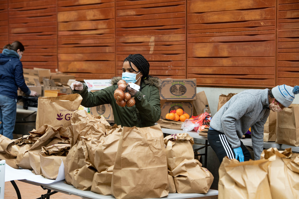 People packing bags of a food for a food distribution program