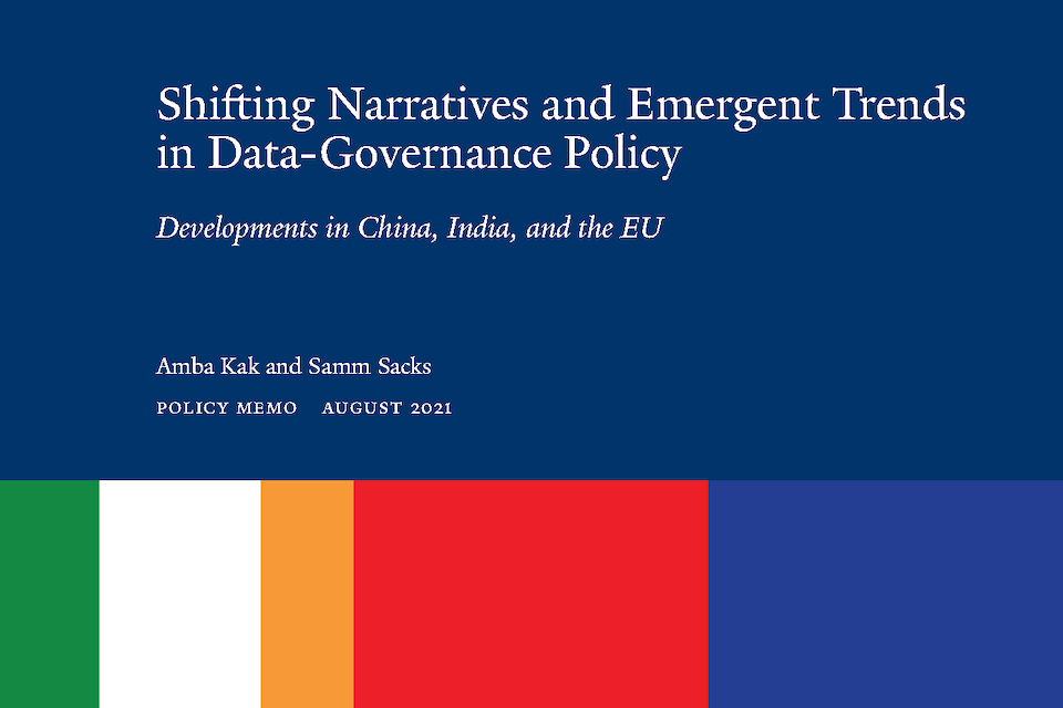 """Cover detail of """"Shifting Narratives and Emergent Trends in Data Governance Policy: Developments in China, India, and the EU"""""""