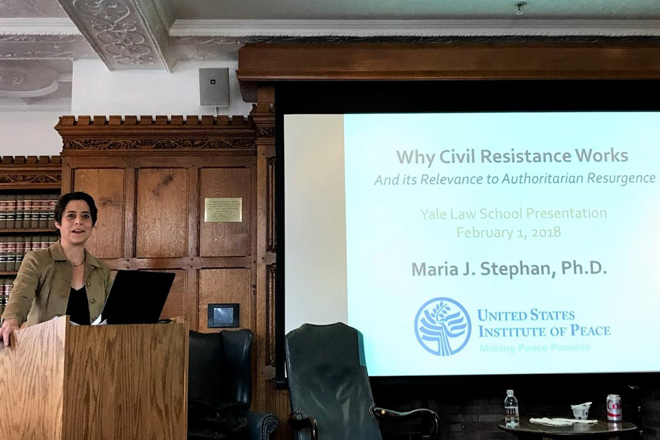 "Dr. Maria J. Stephan Tells Human Rights Workshop, ""Nonviolence Works"""