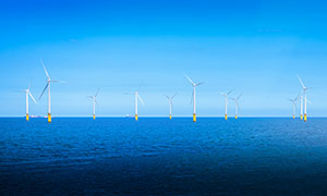 Wind Turbines off shore in England
